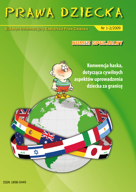 Okładka publikacji Prawa Dziecka. Biuletyn Informacyjny Rzecznika Praw Dziecka nr 1-2/2009. Link do pdfa z publikacją