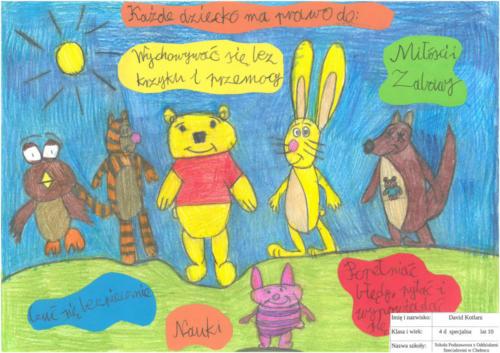 Zwycięzca David Kotlarz, kl. IV Szkoły Podstawowej z Oddziałami Specjalnymi w Chełmcu